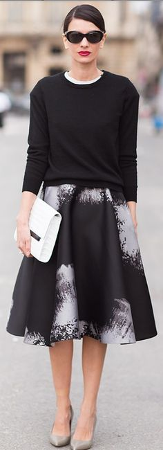 Street Style - Leila Yavary, love the classic black sweater with the floral print and pretty shoes