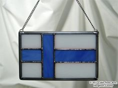FINNISH FLAG in Stained Glass Finland Suomi Sisu by cabinfeverarts, $20.00