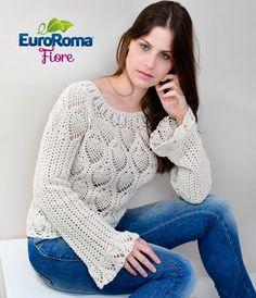 Blusa Ponto Abacaxi em crochê com EuroRoma Fiore
