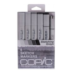Copic Sketching Grays Pens; Copic Sketch Set of 6 Markers