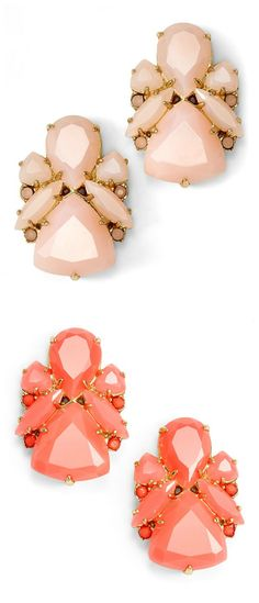 Trying to decide between blush or coral | Kate Spade statement stud earrings.