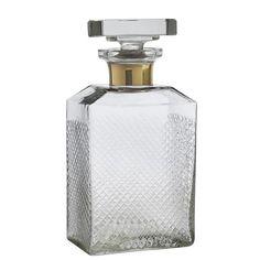 Smuk og stilfuld karaffel i håndskåret soda-lime glas med messingdetalje Bar Drinks, Decanter, Gold Bands, Luxury Furniture, Whisky, Lime, Perfume Bottles, Crystals, Interior