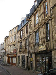 Medieval buildings on Rue des Vieilles Boucheries, Poitiers, Poitou-Charentes, France  More info: http://www.visit-poitou-charentes.com
