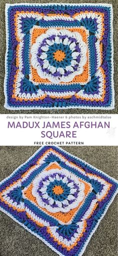 This amazing afghan block uses an optic illusion to create a stunning, complexed and intriguing effect. The cute flower in the center looks like taken out of a meadow full of blossoming flowers! Free Crochet Square, Crochet Squares Afghan, Crochet Blocks, Granny Square Crochet Pattern, Afghan Crochet Patterns, Granny Squares, Crochet Granny, Crochet Bags, Filet Crochet