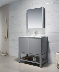 30u0027u0027 Bathroom Vanity, Gray Finish With Mirror Cabinet, High Grade Ceramic  Basin
