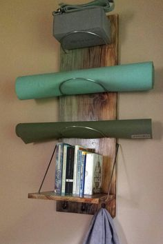 The Gradient Flow 3 tier Yoga Mat Storage Shelf is the next step in organizing your yoga and meditation supplies up and out of the way in your home or office. Great for your meditation corner, home studio or for yoga studios.  Measurements: 12 W 36L 11D  This product is made to order. Thick silver steel rods are used for each tier to hold even the heavier yoga mats and commercial use as well. Gradient color wash, water based. The shelf can hold up to 25lbs easily and ships flat. The wood…