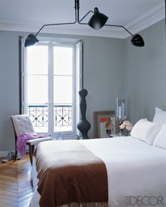 Dior Gray Benjamin MOore found on Elle Decor Shades Of Grey Paint, Grey Paint Colors, 50 Shades, Entryway Paint Colors, Large Bedroom, Master Bedroom, Master Closet, Floor Colors, Contemporary Bedroom