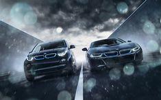 Download wallpapers i3 vs i8, raceway, BMW i8, BMW i3, 2018 cars, road, BMW