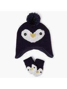564b609a99039c John Lewis Baby Penguin Bobble Hat and Mittens Set, Multi at John Lewis &  Partners