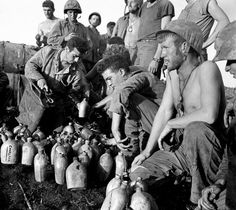 1945  US Marines, Saipan, USA.  Who knows, maybe these very Marines arrived there via my dad's ship, a troop transport.