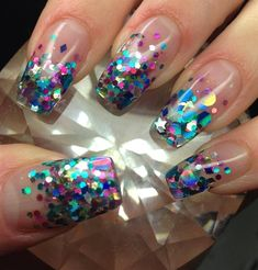 Image result for glitter rainbow acrylic nails