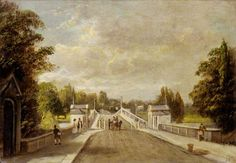 Richmond Bridge by James Isaiah Lewis, century. View taken from Richmond side, showing a pair of toll-houses, with keeper collecting toll from a couple in a gig. On the left is Miss Taylor's boarding house gate. Richmond Bridge, Richmond London, Richmond Upon Thames, Free Museums, London Museums, London Art, Art Uk, Great Stories, Your Paintings