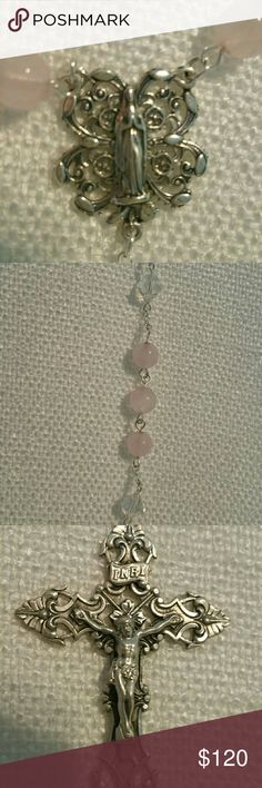 """Graceful Wedding rosary Beautiful, natural soft pink rose quartz decade beads are separated with genuine Swarovski Aurora Borealis crystal bicone beads, and finished with a sterling silver """"Mary in the Grotto"""" centerpiece, and a matching sterling silver antique crucifix Other"""