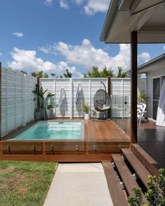 Lovely Swimming Pool Ideas Above Ground Pool Cost, In Ground Pools, Small Backyard Design, Small Backyard Landscaping, Backyard Ideas, Patio Ideas, Plunge Pool Cost, Small City Garden, Concrete Pool