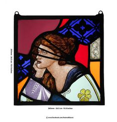 Stained Glass window, Portrait of the Lady, Pre-Raphaelite style, in Contemporary settings, Leaded Panel, Hangable, Ref: Ruby2