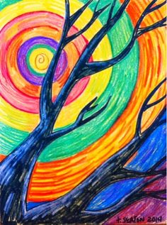 The Lost Sock : Tree Silhouette with Concentric Sky do with birch? Elementary Art Rooms, Art Lessons Elementary, Fall Art Projects, School Art Projects, 6th Grade Art, Sharpie Art, Pastel Art, Pastel Paintings, Tree Silhouette
