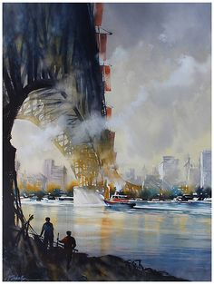"Thomas W Schaller: fine art in watercolor-""Brooklyn Bridge""inspired by the poem of Hart Crane(1930):""Under thy shadow by the piers   Iwaited only in the darkness in thy shadow clear"""