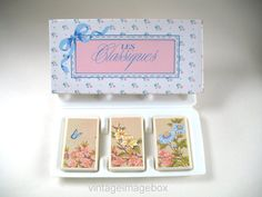Avon Screen Of Flowers Les Classiques soap set, vintage Eighties toiletries, by VintageImageBox