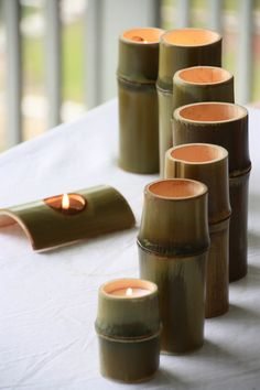 BooLight 100 USA Grown Bamboo Tea Light Votive by TerraBamboo