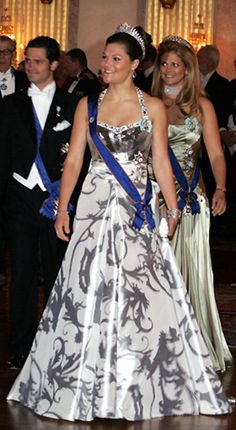 4/17/08. Crown Princess Victoria of Sweden followed by Crown Prince Carl and Crown Princess Madeleine of Sweden