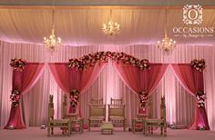 Pink Drapery and Floral Mandap - Indian Wedding Mandaps | #OBSevents #OBSlighting