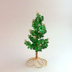 Emerald Green Beaded Wire Miniature Christmas Tree. $20.00, via Etsy.