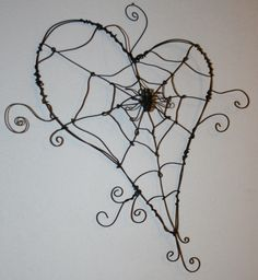 wire heart shaped spider web