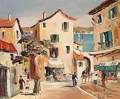 George Hann - 'Antibes' (Street Scene with Figure near a Shop and Cafe, a Glimpse of the French Riviera beyond), 20th Century oil on board, signed,