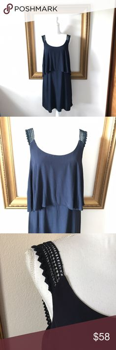 Anthro: Maeve navy sheath lace shoulder dress, 12 EUC! Gorgeous anthropologie piece  that can be dressed up or down! 20 inches armpit to armpit. 40 inches shoulder to bottom of dress. Anthropologie Dresses
