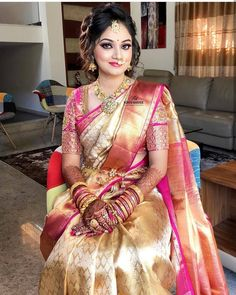 post by South Indiann Paithani Bridal Sarees South Indian, Bridal Silk Saree, Indian Bridal Outfits, Indian Bridal Fashion, Indian Bridal Wear, Indian Sarees, Chiffon Saree, Silk Sarees, Saree Wearing Styles