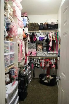 I love yorkies but really? The new yorkie closet ♡ open for business now ♡ Diy Pour Chien, Dog Closet, Dog Bedroom, Puppy Room, Puppy Birthday Parties, Animal Room, Dog Rooms, Pet Costumes, Diy Stuffed Animals
