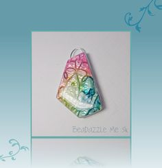 Abstract Rainbow Pendant Faux Dichroic, polymer clay Jewelry. $14.00, via Etsy.