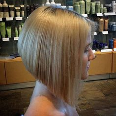 Sleek inverted bob from the side