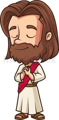Kawaii Jesus Praying: Royalty-free stock vector illustration of Jesus Christ holding His hands together near His chest as He prays to God. Expression Sheet, Free Vector Clipart, Hands Together, Praying To God, Kawaii, Cute Chibi, Vector Illustrations, Jesus Christ, Prayer