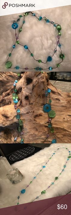Murano glass bead necklace Turquoise, green, pinks and purples. gorgeous, quality craftsmanship. Can be worn long or doubles over. I will package it up pretty for you. Murano Jewelry Necklaces