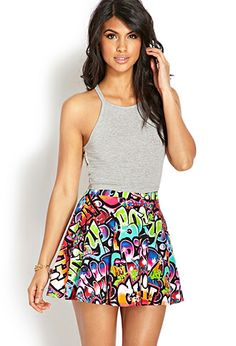 Graffiti Girl Skater Skirt #forever21