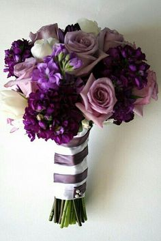 Wrapped With Purple And White Ribbons This Deep Hydrangea Rose Flower Bouquet Would Be A Great Choice For Any Bride Wanting Shades Of