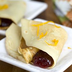 Mochi Crepes made with with mochiko (sweet rice flour) and fresh orange jam.