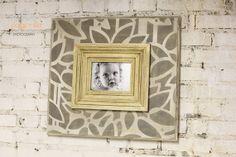 Foto madera angustiado 5 x 7 marco MOD Floral gris y encalado con ribetes de oro