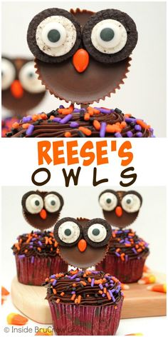 These cute Reese's owl cupcake toppers can be made from just a few store bought ingredients!!