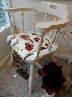 Captain's Chair, painted using Autentico Cocos vintage chalk paint, and re-upholstered.