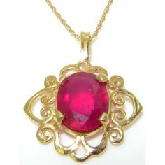 Luxury Womens Solid Yellow 9K Gold Ornate 10x8mm Natural Ruby Pendant Necklace - Ideal for Christmas, Birthday, Anniversary or Mothers Day Gift LetsBuyGold. $293.00. Save 40%!
