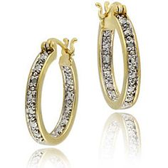 18k Gold over Silver Diamond Accent Hoop Earrings