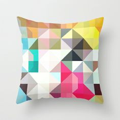 Want to start looking into getting a series of similar geometric cushions - color story - pixelated warfare Throw Pillow by Amanda Millner McAdoo - $20.00