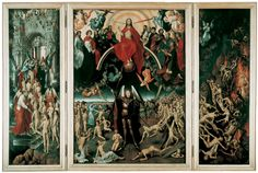 """1467-71 """"Last Judgment"""" a triptych by Hans Memling. Oil on wood. Created for the altar of the Church of the Badia Fiesolana in Florence. It was a re-interpretation of Van der Weyden's Beaune alter piece, with some significant changes. Currently in the National Museum in Gdansk, Poland."""