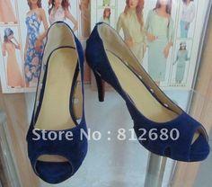 Sexy high heel shoes navy blue suede leather ladies pump N-2012224