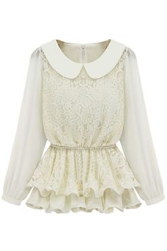 #ROMWEROCOCO. ROMWE | Controlled Waist Chiffon Montage Lace White Blouse, The Latest Street Fashion