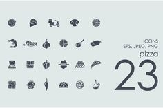 23 pizza icons by Palau on Creative Market