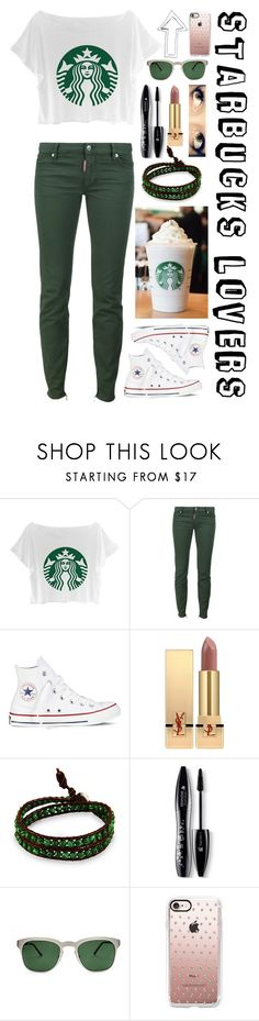 """Starbucks Lovers"" by thisisaudy ❤ liked on Polyvore featuring Dsquared2, Converse, Yves Saint Laurent, Lancôme, Quattrocento and Casetify"