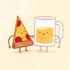 Pizza and beer! Whoop we enjoy being together and hace seen many late nights.